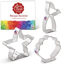 Ann Clark Cookie Cutters 3-Piece Mermaid Cookie Cutter Set with Recipe Booklet, Mermaid Tail, Starfish, Seashell
