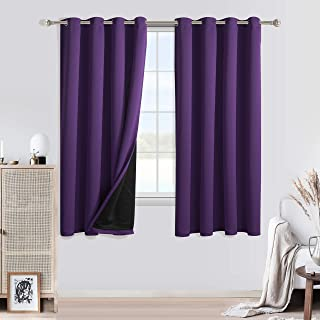 LIGAHUI Blackout Curtains Purple wolf 2x W66x L72 inch Eyelet Thermal Insulated Bedroom Curtain Ring Top Solid Kids Treatments Curtains Living Room for Nursery 2 Panels