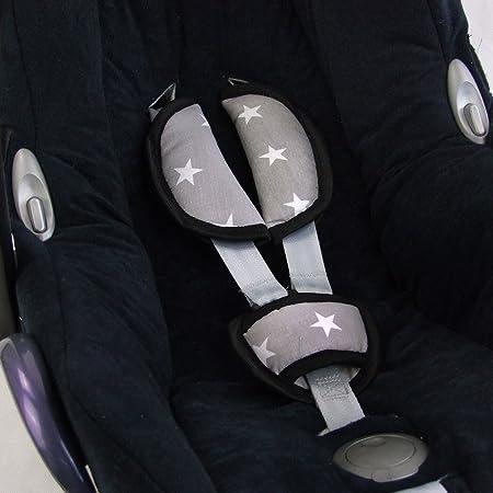 Bambiniwelt Universal 3tlg Set Gurtpolster Schrittpolster Für Maxi Cosi Römer Etc Grau Mit Weissen Sternen Babyschalen Gruppe 0 Xx Baby
