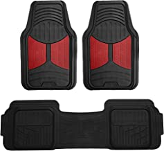 FH Group F11513 Car Floor Mats (3 pcs) Heavy Duty Rubber Floor Mats All-Weather Full Set Mats w, Universally Designed to fit All Trucks, Cars, SUVs, and Other Automobiles- Burgundy/Black