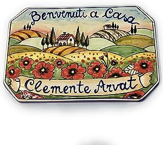CERAMICHE D'ARTE PARRINI- Ceramica italiana artistica,numero civico in ceramica 20x13,numeri civici, personalizzato decora...