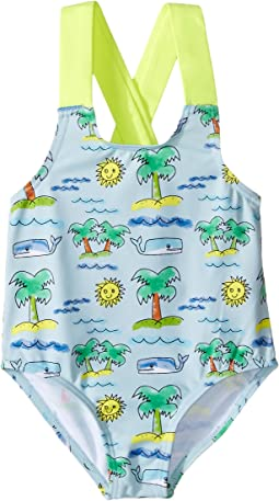 Stella McCartney Kids - Sunnee Fluro Beach Print Swimsuit (Infant/Toddler)