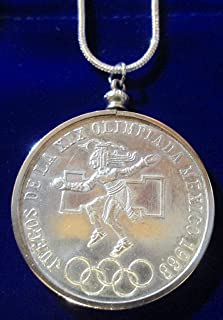 1968 Mexico Silver 25 Pesos Olympics*Brilliant Uncirculated* Coin Pendant on a 24