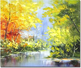 Muzagroo Art Landscape Oil Paintings Original Art Tree Pictures Living Room Wall Canvas Paintings(Yellow, 20x24in)