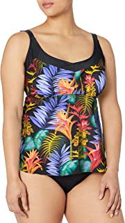 Maxine Of Hollywood Women's Plus Size Underwire Side Shirred Tankini Swimsuit Top