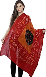 Exotic India Tie-Dye Bandhani Dupatta From Gujarat with Woven Border and Chakra