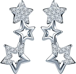 Infinity U Elegant 3 Star women's stud earrings 925 sterling silver, zirconia stud earrings, silver