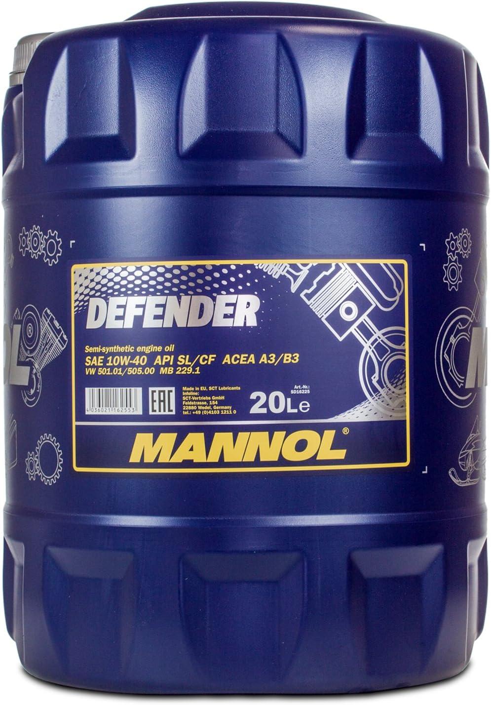 Mannol Defender 10w 40 Api Sl Cf Motorenöl 20 Liter Auto