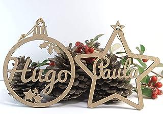Bola de Navidad de madera personalizada con nombre para colgar en el árbol