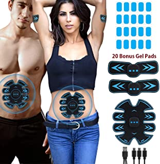 Eon Concepts Muscle Toner Ultimate Abs Stimulator with 10 Extra Gel Pads & E-Book | EMS Abdominal Toning Belt for Men & Women | Arm & Leg Trainer | Portable Office, Home & Gym Fitness Equipment