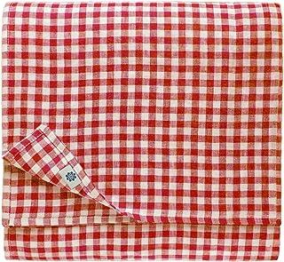 Linen & Cotton Nappe de Table en Tissu à Carreaux Vichy Estella - 100% Lin, Blanc Rouge (140 x 250 cm) Festif Campagnard p...