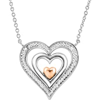 Finecraft Spinner Heart Pendant with Diamonds in Sterling Silver & 14K Rose Gold