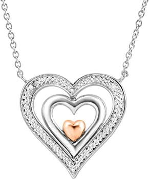 Finecraft Spinner Heart Pendant with Diamonds in Sterling Silver