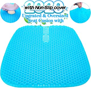 Vodche Large Gel Seat Cushion, Upgraded Seat Cushion with Non-Slip Cover, Multi-Use Seat Cushion Super Breathable Honeycomb Design Relief Back Pain Gel Cushion for Car, Office Chair, Wheelchair, Home