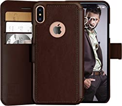 LUPA iPhone Xs Wallet case, iPhone X Wallet Case, Durable and Slim, Lightweight with Classic Design & Ultra-Strong Magnetic Closure, Faux Leather, Dark Brown, for Apple iPhone Xs/X