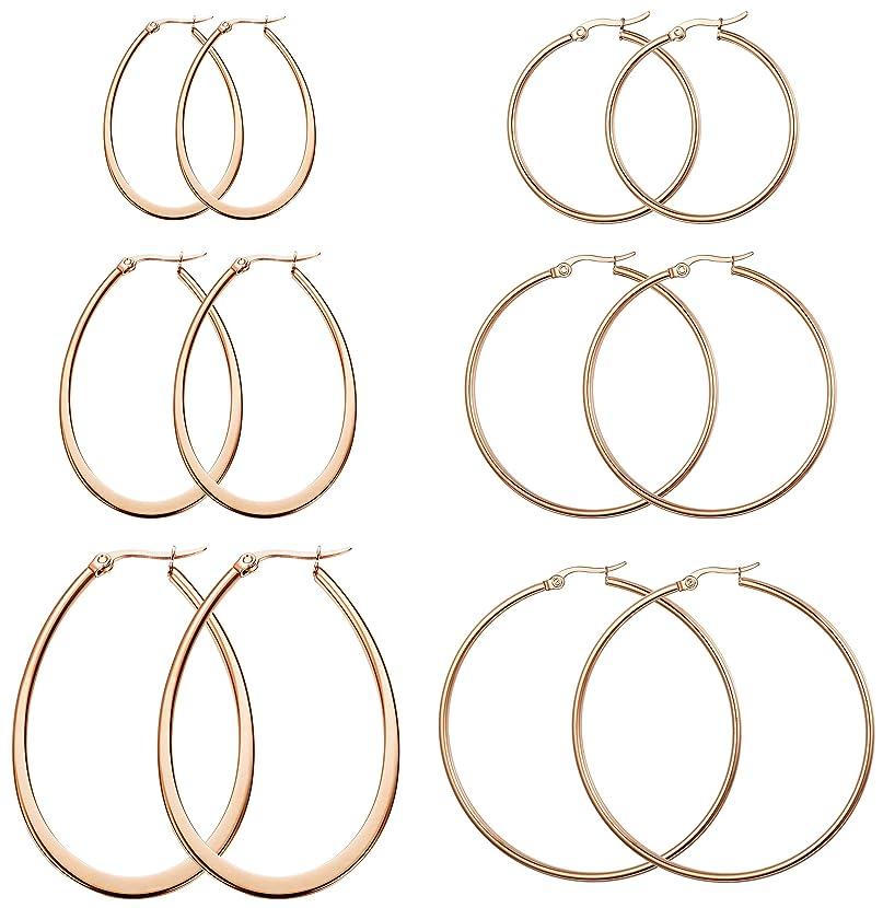 FIBO STEEL 3-8 Pairs Stainless Steel Hoop Earrings Set for Women 40-70mm