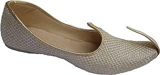 Men's Sherwani Style Wedding Khussa Shoe Beige with Golden Trim Size US 7 to US 11.5