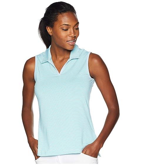 ADIDAS GOLF Ultimate 365 Stripe Sleeveless Polo, Vision Blue