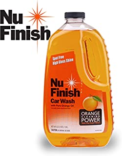 Nu Finish Car Wash Soap, No Spots, Streaks or Harmful Ingredients, Unique Pure Orange Oil Formula Removes Tar, Tree Sap, Bugs, Bird Droppings, 64 oz
