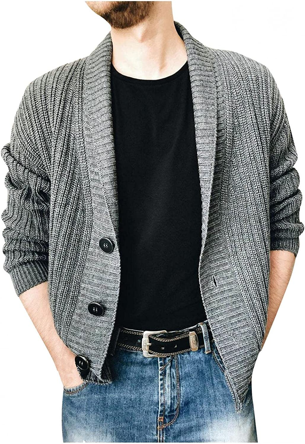 Huangse Men's Shawl Collar Knit Sweater Jacket Long Cardigan Sweaters Casual Long Sleeve Open Front Knit Sweater Coat