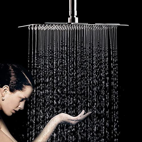 FuSenYing 12 Inch Large Square Rain Showerhead, Stainless Steel Shower Head with Polish Chrome Finish, Silver