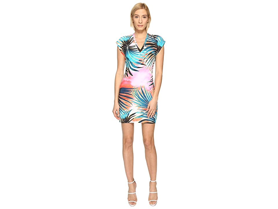 Just Cavalli Palm Print Fitted Short Sleeve Dress (Multicolor Variant) Women