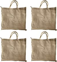 Reusable Shopping Bags – HOMEDULGENCE Eco Friendly Jute Grocery Bags –Durable – Plastic-Free 100% Natural - Stylish Rustic Style Plain with no Prints – Long Cord Handles – Large Capacity (4)