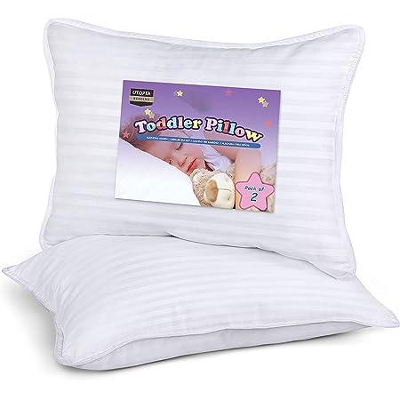Utopia Bedding Cuscini Bambino (Set di 2) - 33 x 45 cm Guanciali per Culla - Tessuto Misto Cotone con Morbida Fibra di Poliestere 3D - Traspirante (Bianco)