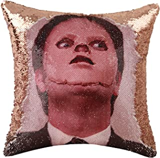 Merrycolor The Office Throw Pillow Cover Dwight Schrute Mask Sequin Pillowcase Mermaid Decorative Cushion Cover Funny Gift...