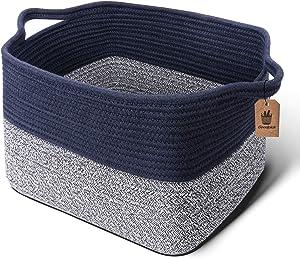 Goodpick Cube Storage Bins - Shelf Baskets for Storage Towel Book Cloth Storage Bins for Office Woven Basket for Shelves Baby Laundry Basket Toys storage Basket Closet Storage Basket, 13''x9.8''x 9''