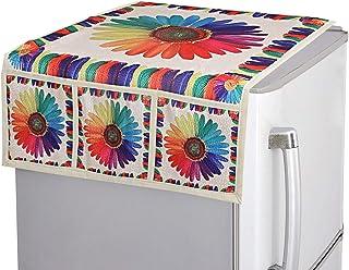 Kuber Industries Floral Design Cotton Fridge/Refrigerator Top Cover (Cream)-CTKTC032708