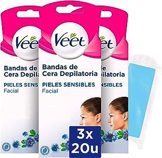 comprar comparacion Veet Bandas de Cera Fria Depilatoria para Depilación Facial con Aceite de Almendras y Aroma de Aciano, Easy Gelwax, Pieles...