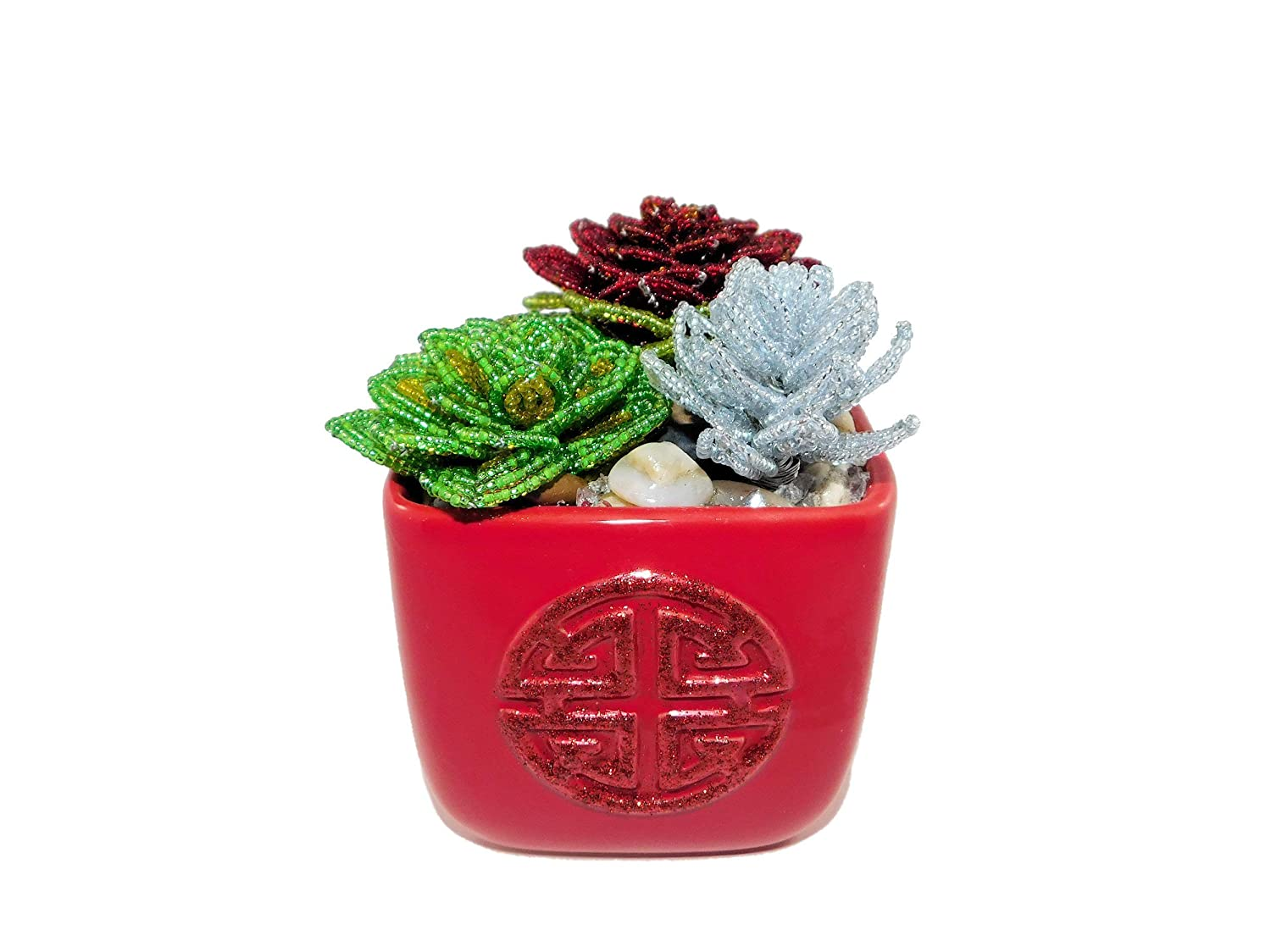 Max 42% OFF 4.5 Inch Handmade Beaded Mixed Artifi Pot. Super beauty product restock quality top in Succulents Ceramic