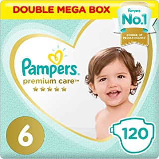 Pampers Premium Care Diapers, Size 6, Extra Large, 13+ kg, Double Mega Box, 120 Count