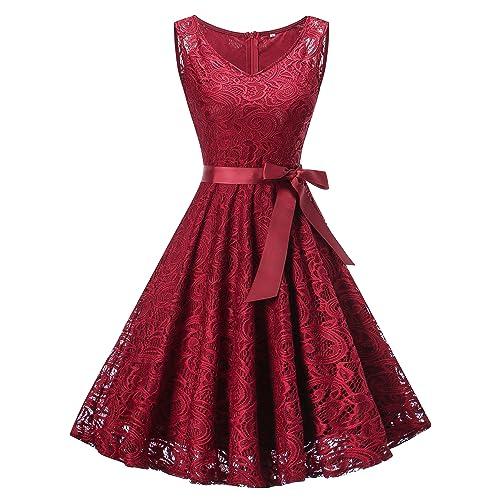 90640f2077 Vestido Mujer de Encaje Corto Vestido de Fiesta Vestido de Cóctel Sin Manga  con Lazo Cuello