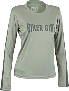 Hugger Ladies High Visibility Dri Fit Polyester Long Sleeve Shirt for Motorcycle Riding, Walking/Running, and Cycling