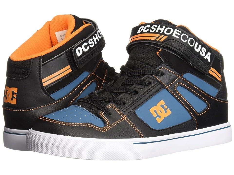 DC Kids Pure High-Top EV (Little Kid/Big Kid) (Black/Orange/Blue) Boys Shoes