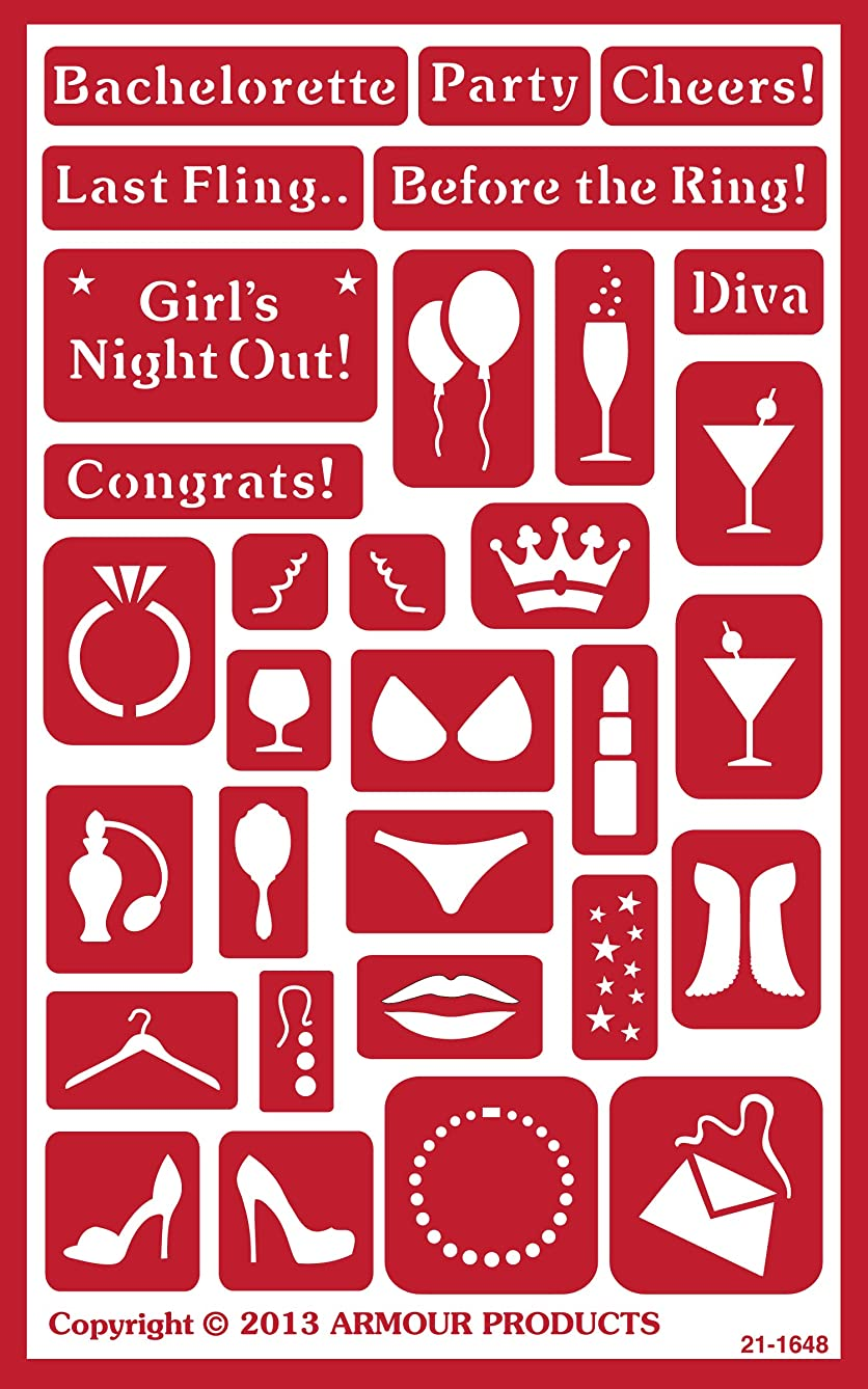 Armour Products Over N Over Glass Etching Stencil, 5-Inch by 8-Inch, Bachelorette Party