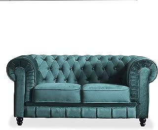 Adec - Chesterfield, Sofa de Dos plazas, Sillon Descanso 2 Personas Acabado en capitone Color Velvet Verde, Medidas: 166 cm (Ancho) x 84 cm (Fondo) 75 cm (Alto)