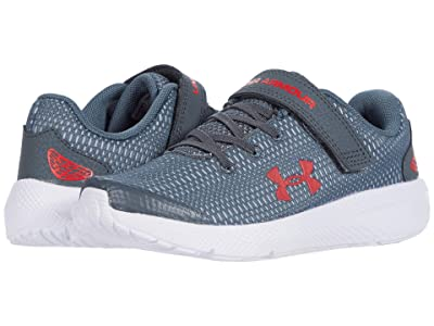 Under Armour Kids Pursuit 2 (Little Kid) (Pitch Gray/White/Versa Red) Boys Shoes