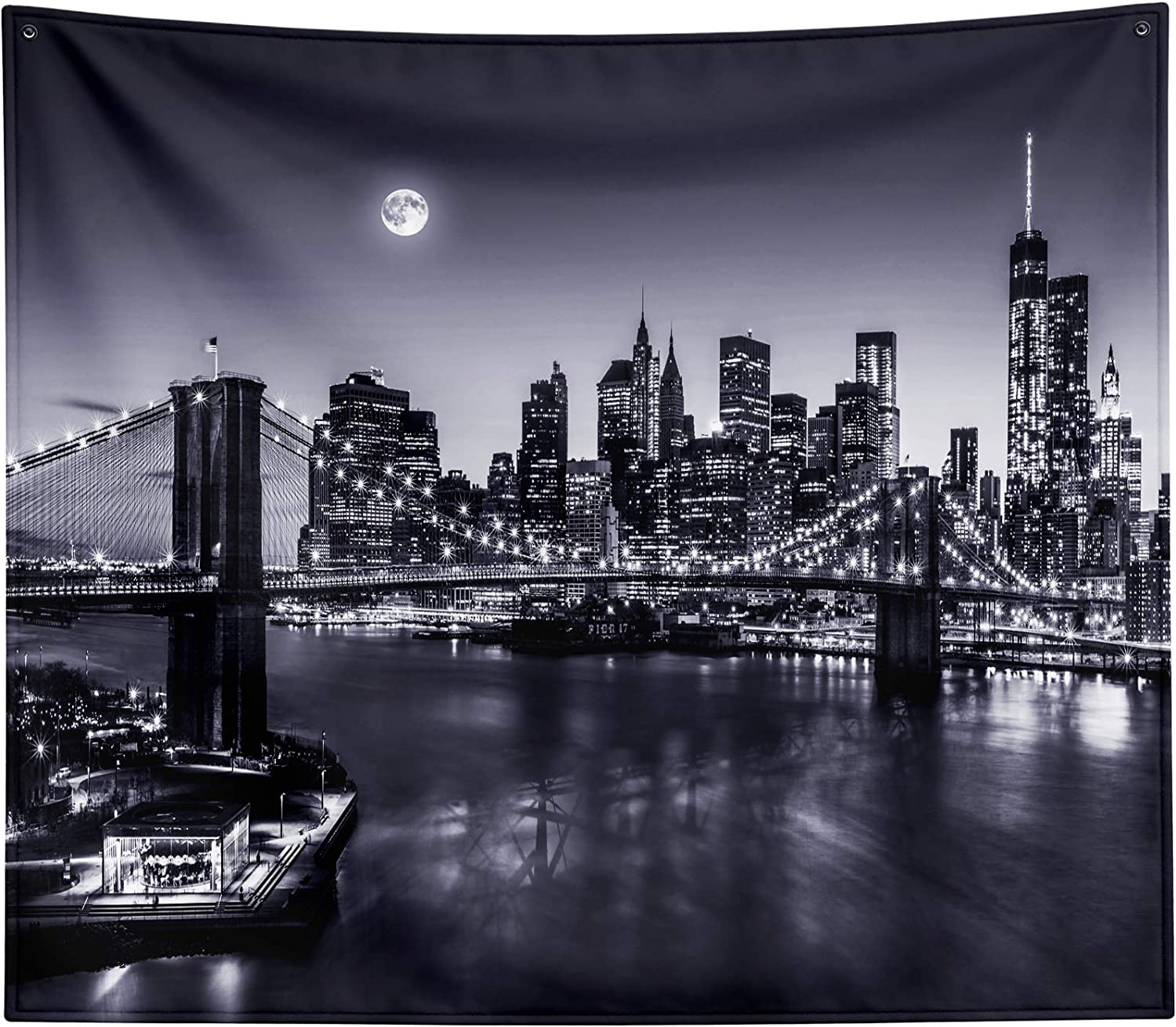 New York Max 74% OFF City Tapestry Wall Hanging USA White Bro Black Moon Virginia Beach Mall and