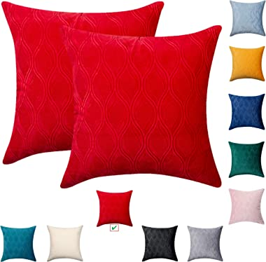 Bright Red Throw Pillows for Couch 18x18 - Soft Velvet Red Pillows Decorative Throw Pillows, Decorative Pillow Covers for Sof