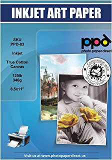 PPD Inkjet Canvas 100% Real Printable Cotton LTR 8.5 x 11 125lbs. 340gsm 17mil x 20 Sheets (PPD083-20)