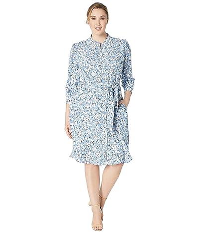 LAUREN Ralph Lauren Plus Size Floral Georgette Dress (Silk White Multi) Women