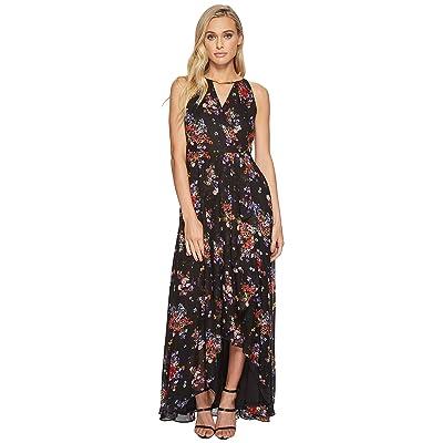 Sangria Printed Halter Maxi Dress (Black/Multi) Women