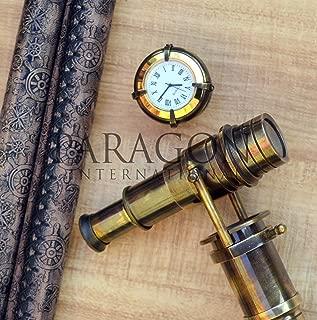 Beautiful Handcrafted Walking Stick Leather Stitched Vintage Telescope/Hidden Spyglass Handle Vintage Design