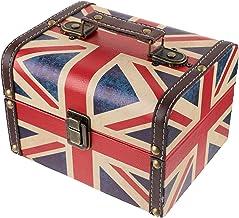 Veemoon Vintage Wooden Jewelry Box Small Trinket Storage Box Retro US Flag Treasure Chest Organizer Keepsake Gift Boxes Co...