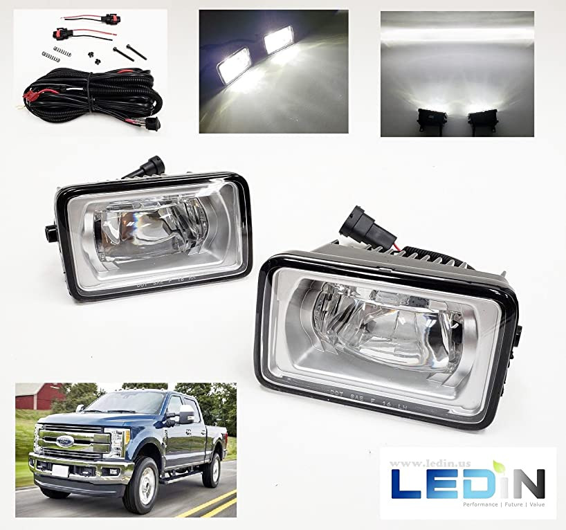 LEDIN For Ford 2015-2017 F150 2017-2018 F250 F350 Front Bumper Clear LED Fog Lights with Wires Switch