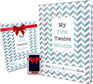 My First Twelve Months Baby Memory Book & Journal + Free Clean-Touch Ink Pad + Giftbox | Unisex | Non-Traditional Family Friendly | Gender Neutral Friendly | Eco-Friendly and Modern