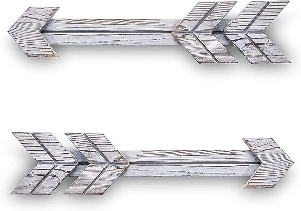 乡村木材木制箭头悬挂标志墙壁艺术艺术品农舍家居装饰装饰品一套 2 件白色